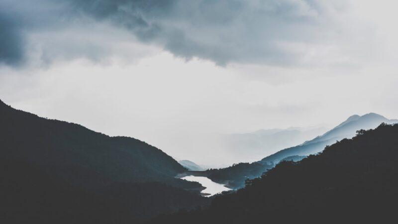 Blue tones mountain landscape